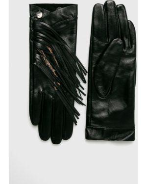 Skórzany rękawiczki z polarem prążkowany Liu Jo