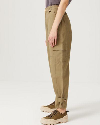 С завышенной талией зеленые брюки карго с накладными карманами Sela