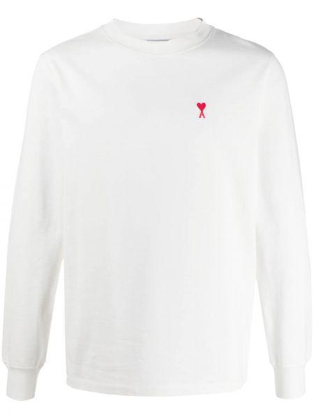 Biały t-shirt z długimi rękawami bawełniany Ami