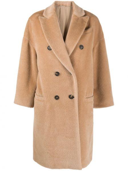 Коричневое шерстяное пальто классическое на пуговицах с лацканами Brunello Cucinelli