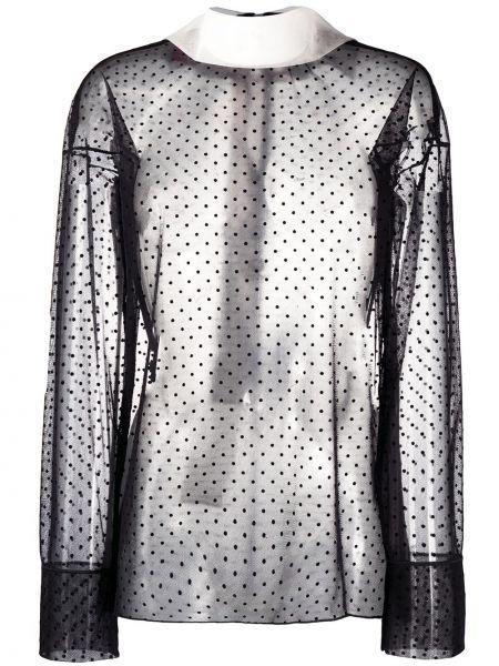 Черная блузка прозрачная с воротником Viktor & Rolf