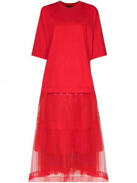 Красное расклешенное платье миди из фатина с вырезом Simone Rocha