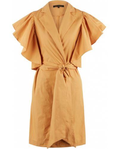 Хлопковое желтое платье с запахом Love Republic