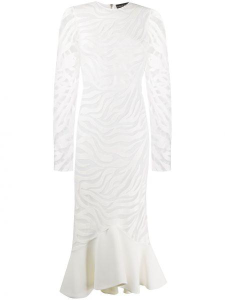 Sukienka koktajlowa asymetryczna z długimi rękawami z jedwabiu David Koma