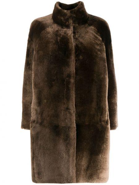 Коричневое кожаное длинное пальто двустороннее Peserico