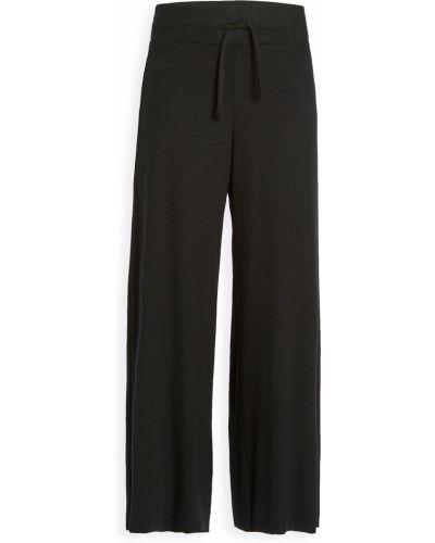 Черные укороченные брюки на резинке свободного кроя Terez