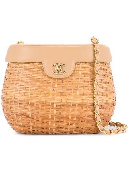 Кожаная сумка соломенная на цепочке Chanel Pre-owned