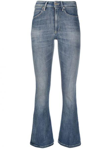 Расклешенные синие укороченные брюки со складками Dondup