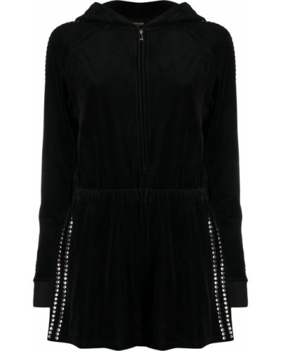 Хлопковый черный ромпер с поясом на молнии Juicy Couture