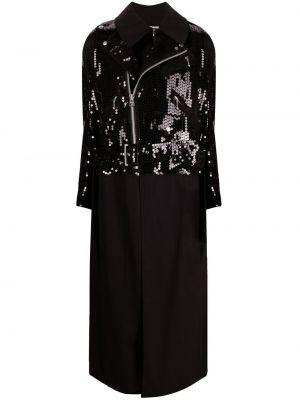 Черное длинное пальто двубортное на молнии Junya Watanabe