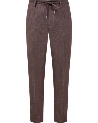 Коричневые льняные брюки с карманами с декоративной отделкой Cortigiani