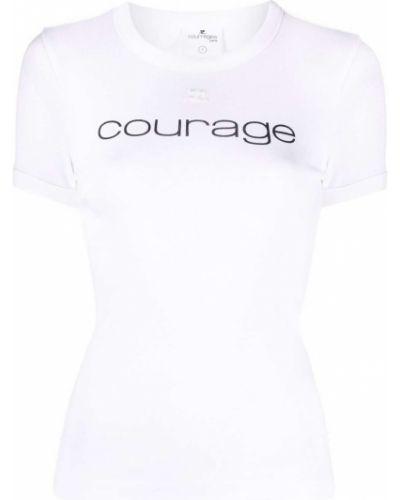 Biała koszulka bawełniana Courreges