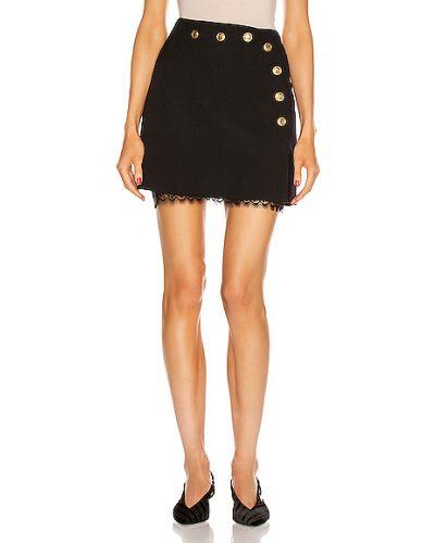 Czarna spódnica mini kopertowa koronkowa Givenchy