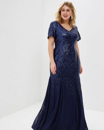Вечернее платье весеннее синее Goddiva Size Plus