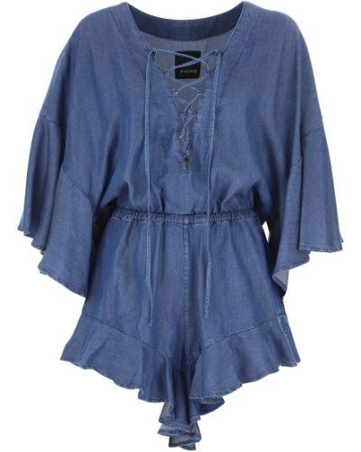Niebieska sukienka wieczorowa Pinko