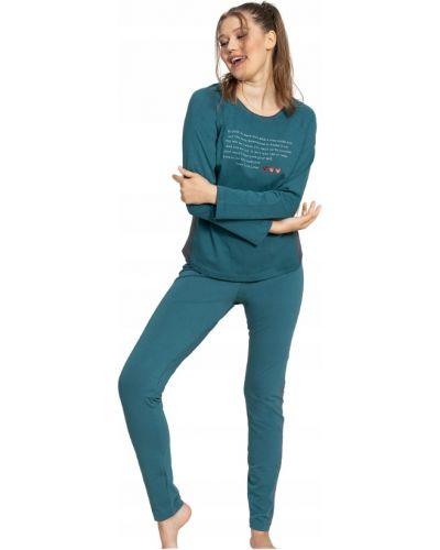 Zielona piżama bawełniana z długimi rękawami Vienetta