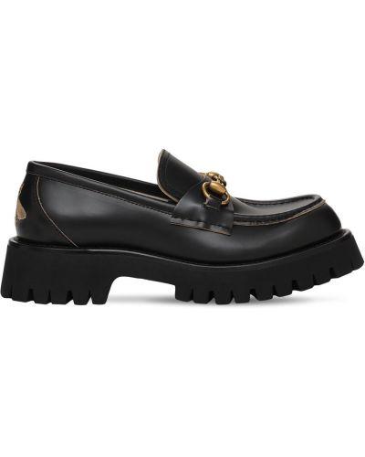 Черные туфли с принтом Gucci