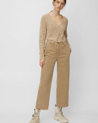 Бежевые расклешенные брюки с высокой посадкой Marc O' Polo