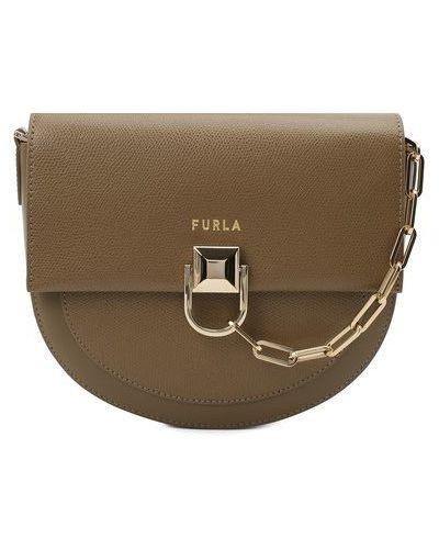 Кожаная бежевая сумка через плечо Furla