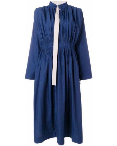 Синее платье плиссированное Cédric Charlier