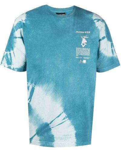 Niebieski t-shirt bawełniany krótki rękaw Mauna Kea