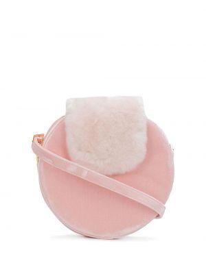 Шелковая розовая сумка на плечо круглая La Seine & Moi