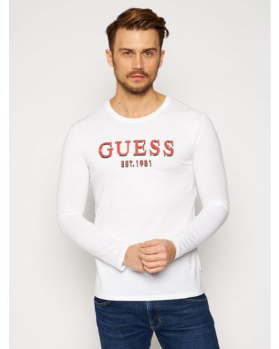 Biały koszulka z długim rękawem Longsleeve Guess