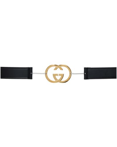 Skórzany czarny pasek z klamrą z paskiem Gucci