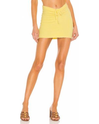 Текстильная желтая юбка мини с оборками Majorelle