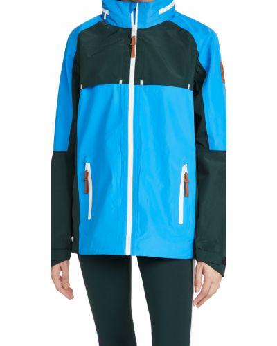 Синяя длинная куртка с капюшоном с воротником Tory Sport