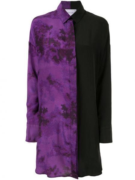 Шелковое платье макси - фиолетовое Strateas Carlucci