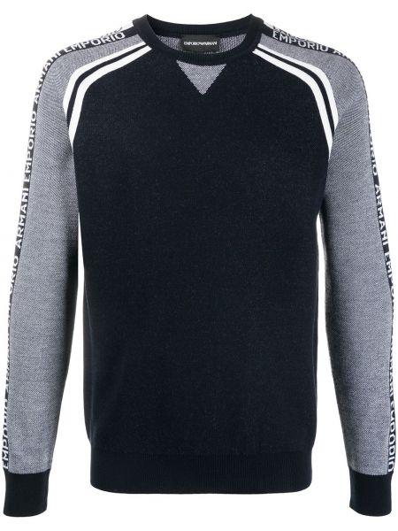 Wełniany z rękawami ciemnoniebieski pulower Emporio Armani