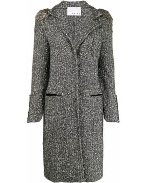 Черное шерстяное пальто классическое на пуговицах с капюшоном 20:52
