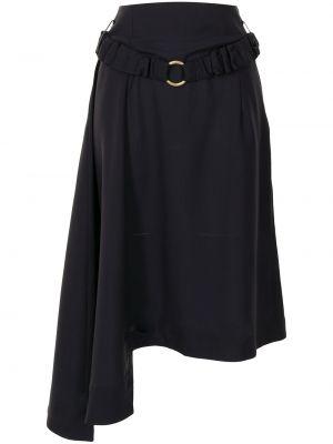 Асимметричная с завышенной талией синяя юбка Eudon Choi