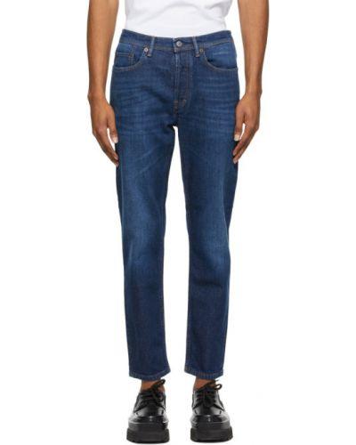 Niebieskie jeansy skorzane z paskiem Acne Studios