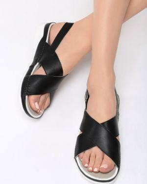 Czarne sandały materiałowe Multu