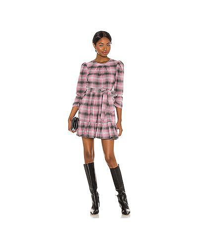 С рукавами розовое платье мини с поясом Likely