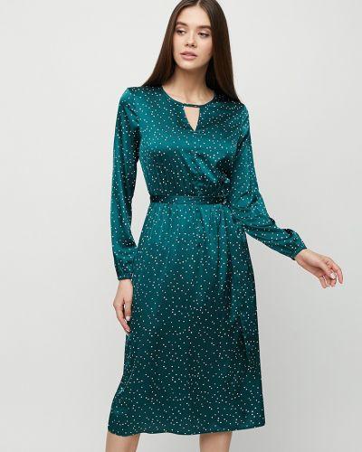 Шелковое приталенное платье миди с длинными рукавами на резинке Cardo