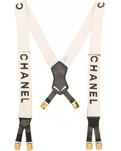 Czarne szelki skorzane pozłacane Chanel Pre-owned