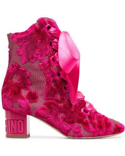 Ажурные розовые кожаные пинетки на шнурках Moschino