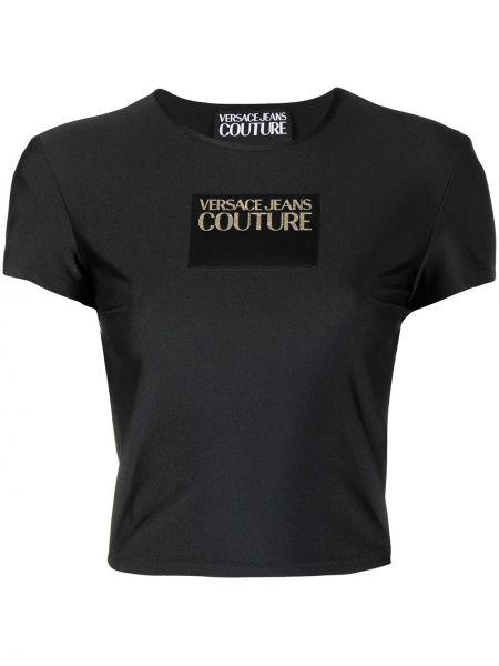 Черная футболка с вырезом с нашивками Versace Jeans Couture