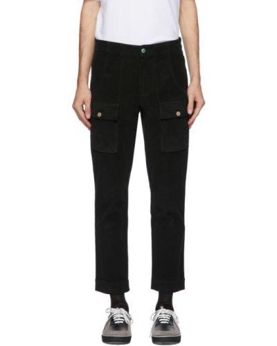Prosto bawełna czarny spodnie o prostym kroju z kieszeniami Palm Angels