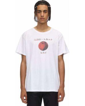 Biały t-shirt w paski bawełniany Nicolò Tonetto Milano