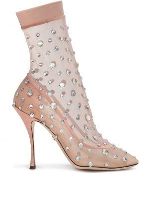 Różowe wysoki skarpety z nylonu Dolce And Gabbana