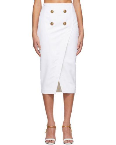 Шерстяная белая юбка с подкладкой Balmain