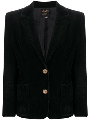 Бархатный черный удлиненный пиджак на пуговицах Céline Pre-owned