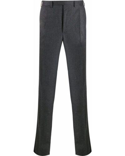 Серые шерстяные прямые прямые брюки на пуговицах Borrelli
