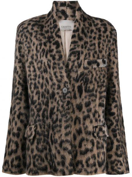 С рукавами удлиненный пиджак с карманами на пуговицах из альпаки Laneus