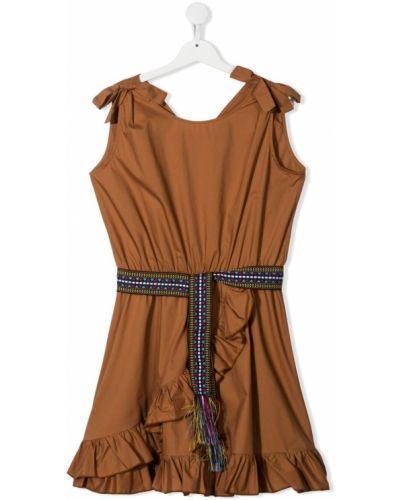 Коричневое платье с запахом с вырезом Mariuccia Milano Kids