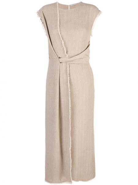 Brązowa sukienka długa asymetryczna Dusan